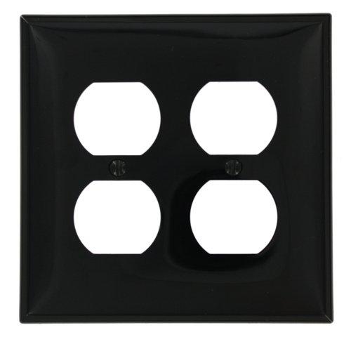 Leviton PJ82-E 2-Gang Duplex Receptacle Wallplate, Midway Size, Black (Covers Outlet Nylon Duplex)