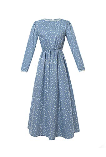 ROLECOS Pioneer Women Costume Floral Prairie Dress Deluxe Colonial Dress Laura Ingalls Costume Blue XL -