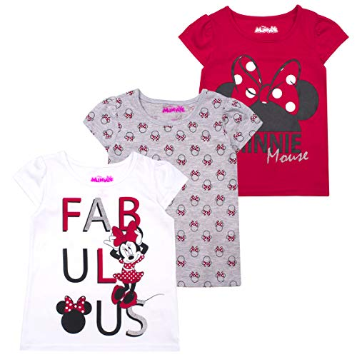 Minnie mouse T-Shirts for Girls – 3 Pack Short Sleeve Graphic Tees 5 RED