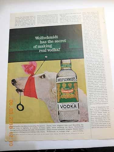 - Advertisement for Wolfschmidt Vodka with Borzoi Dog Wolfschmidt Has the Secret of Making Real Vodka!