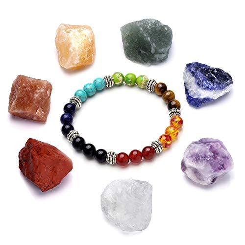 CrystalTears Chakra Healing Kit, 7X Natural Raw Stones Rough Rock Crystals and 7 Chakra Bracelet Yoga Meditation Set