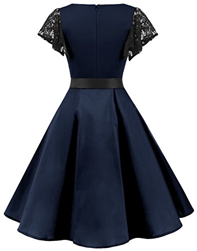 Party Lace Women's Vintage Retro 50s BeryLove Dresses Swing Rockabilly Navy Coaktail Sleeves a6Zwqxxz7