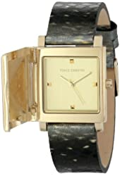 Vince Camuto Women's VC/5138CHGD Gold-Tone Pyramid Covered Dial Snakeskin Pattern Leather Strap Watch