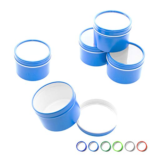 Mimi Pack 1 oz Tins 24 Pack of Deep Window Slip Top Round Tin Containers with Lids For Cosmetics, Party Favors and Gifts (Blue) -
