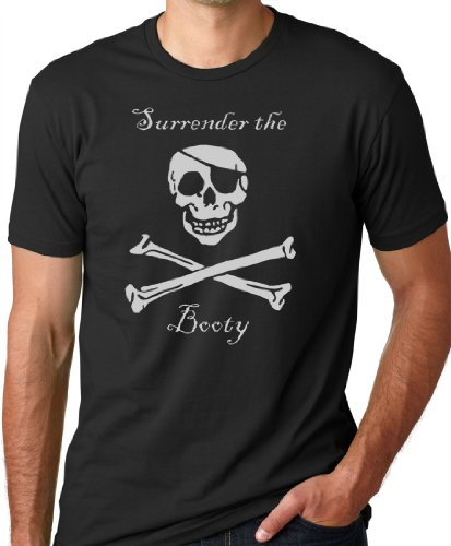 Surrender The Booty Funny Pirate T-shirt Black XL - Pirate Apparel