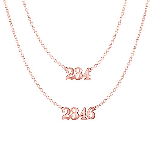 Ouslier 925 Sterling Silver Personalized Double Chain Number Necklace Custom Made with Number or Name (Rose Gold)