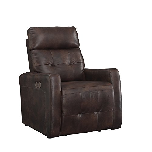 AC Pacific Anna Collection Contemporary Leather Upholstered Electric Recliner Chair With Adjustable Headrest, Tufting and Low Arms, ()