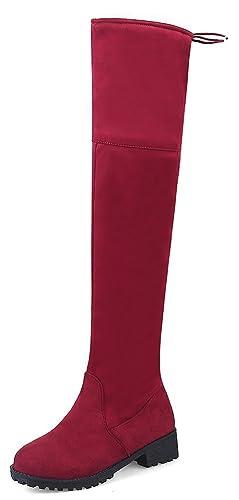 Easemax Damen Elegant Langschaft Overknee Schnürung Nubk Stiefeletten Schwarz 45 EU E7chmXMx