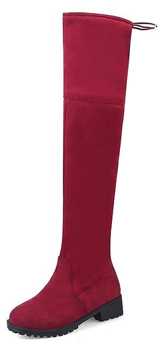 Easemax Damen Elegant Langschaft Overknee Schnürung Nubk Stiefeletten Rot 37 EU ohUeiL