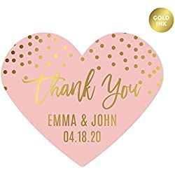 Andaz Press Blush Pink and Metallic Gold Confetti Polka Dots Wedding Party Collection, Personalized Heart Label Stickers, Thank You Anna & Steve January 4, 2020, 75-Pack, Custom Names and Date