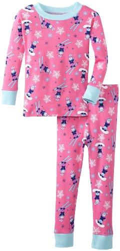 - New Jammies Little Girls'  Organic Snuggly Pajama Ski Bunnies, Pink, 2T