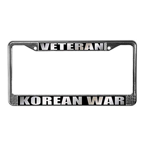 (CafePress Korean War Veteran Chrome License Plate Frame, License Tag Holder)