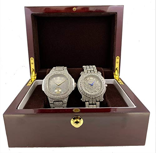 Rapper Men's Watch Gift Set with Two Bling-ed Out Luxury Hip Hop Watch - L0485 (Silver)