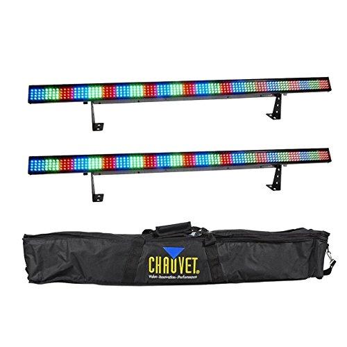2) Chauvet COLORSTRIP 4 Ch. DMX Multi-Color DJ Light Bar/Color Strips+Carry Case ()