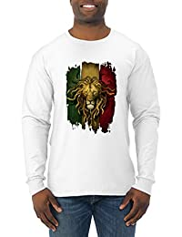 Rasta Lion | Mens Weed Long Sleeve Tee Graphic T-Shirt