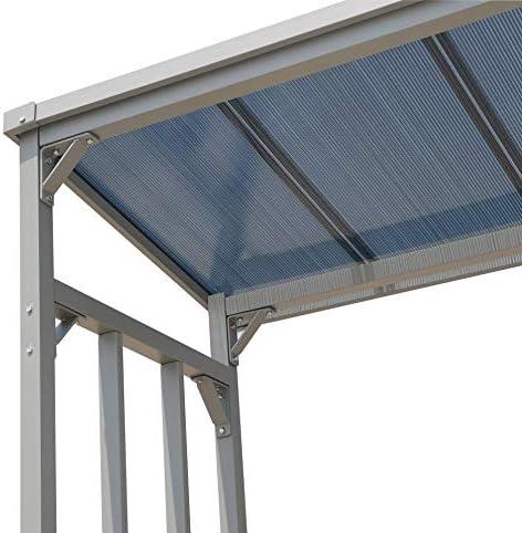 QUICK STAR Aluminio Chimenea Madera Estante 185 x 70 x 185 cm Jardín Prinidor Refugio de 2,3 m³ de Madera Almacenamiento apilables Ayuda Exterior