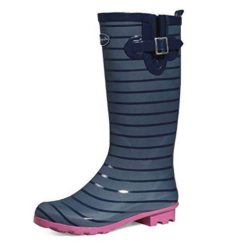 K KomForme Women Fashion Rain Boots,Waterproof Garden Shoes for Outdoor Use with Comfortable Insole