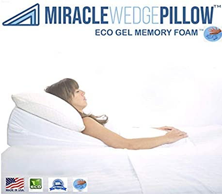 Amazon Com Gel Memory Foam Wedge Pillow For Acid Reflux Cool