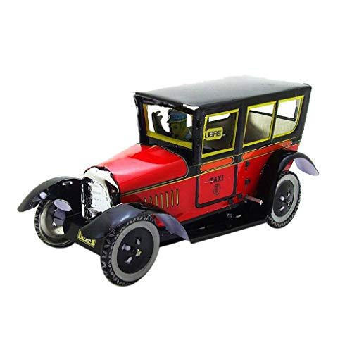 Smilvy Antique Car Model Photography Props Taxi Clockwork Retro Car Metal Toy Collections (Red) from Smilvy-Developmental & Educational Toys