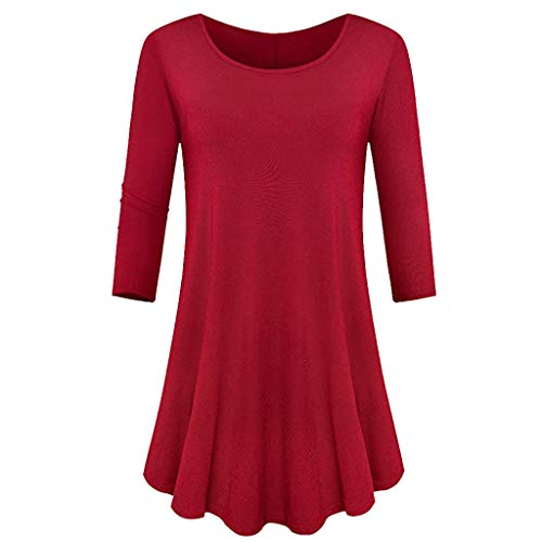(HAALIFE◕‿Womens 3/4 Sleeve Loose Fit Swing Tunic Tops Basic T Shirt Red)