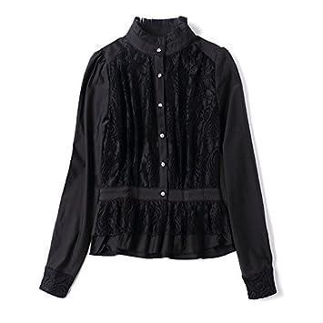 Señoras de moda Casual cuello de camisa de manga larga blusa respaldo,Black,M
