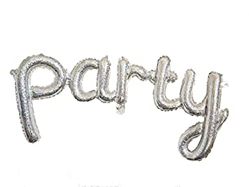 amazon com hanging foils balloons party script word 35 silver