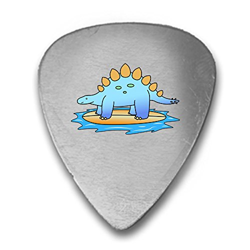 Stegosaurus Dinosaur Surfing on Surf Board the Ocean Fun Cute 3D Color Printed Guitar and Bass Pick Gift Silver (Couple Surfboard Stand)