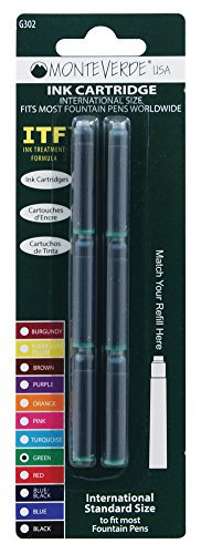 Monteverde International Size Cartridge to Fit Fountain Pens, Green, 6 per Pack (G302GN)