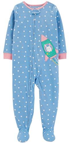 Carter's Baby Girls 12M-5T One Piece Fleece Pajamas, Bunny Rocket, 18 Months -