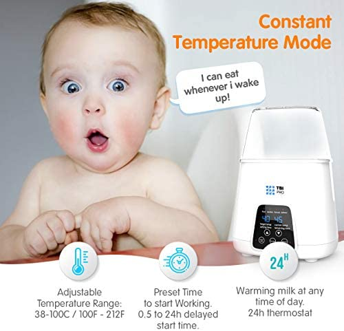 TBI Pro 5-in-1 Portable Fast Baby Bottle Warmer For Baby Milk Breastmilk - Bottle Sterilizer With Timer Safe Auto-Off Function - Two Bottles BPA-Free For Babies Infant Food Rapid Defrosting Heating