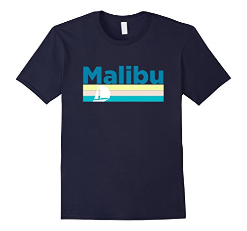 Mens Malibu Retro Sail Boat   California T Shirt Medium Navy