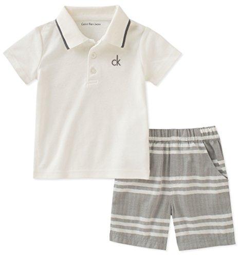 Calvin Klein Baby Boys 2 Pieces Bodysuit Shorts Set, Vanilla/Gray, 3-6 Months by Calvin Klein
