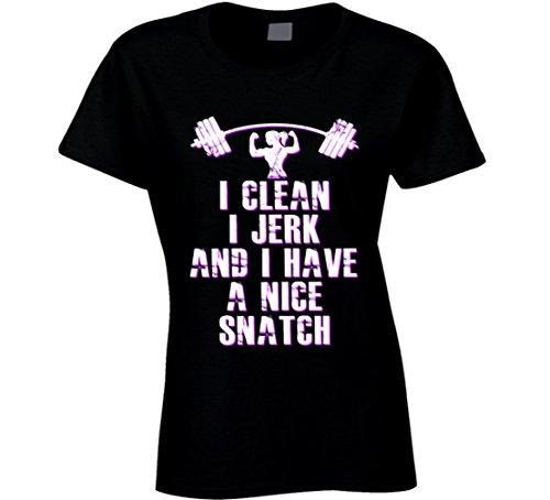 South Beach Women's I Clean I Jerk & I Have a Nice Snatch T-Shirt MD Black
