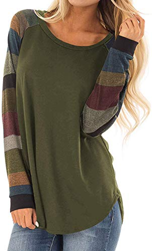 ual Long Raglan Sleeve Wide Striped Printed Cotton Jersey Tops Blouse M ArmyGreen ()
