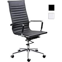 CMO High Back Black Ribbed Upholstered PU Leather Swivel Conference Office Chair with Tensioner Knob, Chrome Armrest with Protective Sleeves, Black