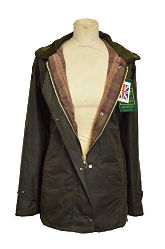 Walker and Hawkes Women's Wax Antique Jacket Countrywear Hunting Waxed Coat 8 Olive