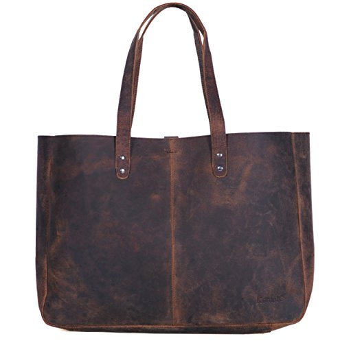 Komalc Genuine Soft Buffalo Leather Tote Bag Elegant Shopper Shoulder BagSALE -