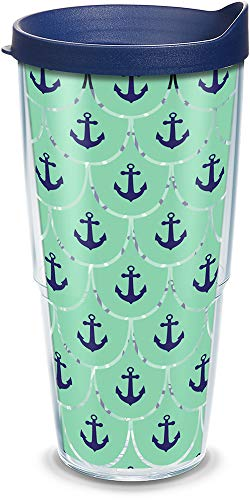 Tervis 1177424 Anchors & Scallops Pattern Insulated Tumbler with Wrap and Navy Lid, 24oz, Clear