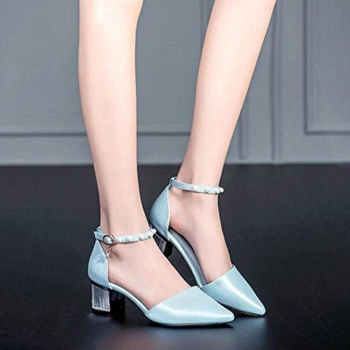 L@YC Frauen High Heels Sommer Und Herbst Leder Im Wort Mit Einem Wort GrößE Low-Cut Mit Sandalen Blue