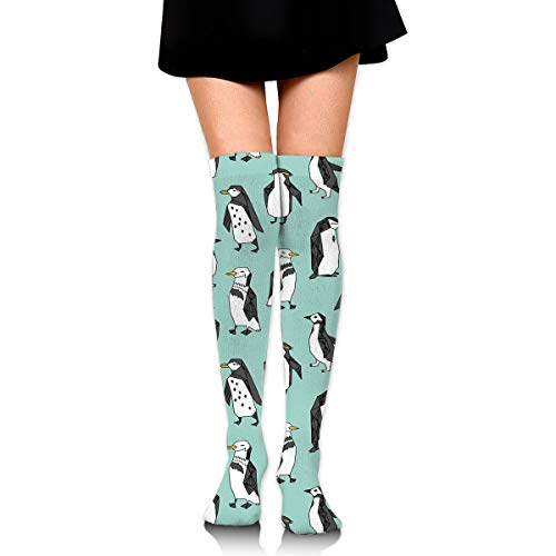 (Ideal Gifts - Fashion Thigh High Long Tube Stockings for Women Over The Knee Socks with Walking Proud Penguin Mint Green Warm Comfortable Compression Socks)