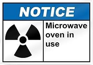 Microondas Horno en uso aviso Signo 14cm de ancho x 10cm de alto