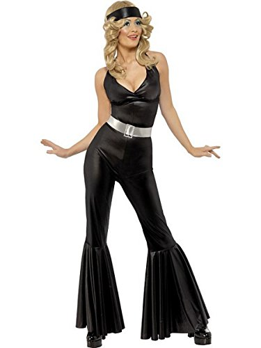 [Smiffy's Women's 70's Diva Costume, Catsuit, Head Scarf and Belt, 70 Disco, Serious Fun, Size 10-12,] (70s Costumes Amazon)