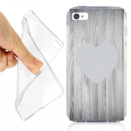 CUSTODIA COVER CASE HEART WOODS PER IPHONE 4 OPACO
