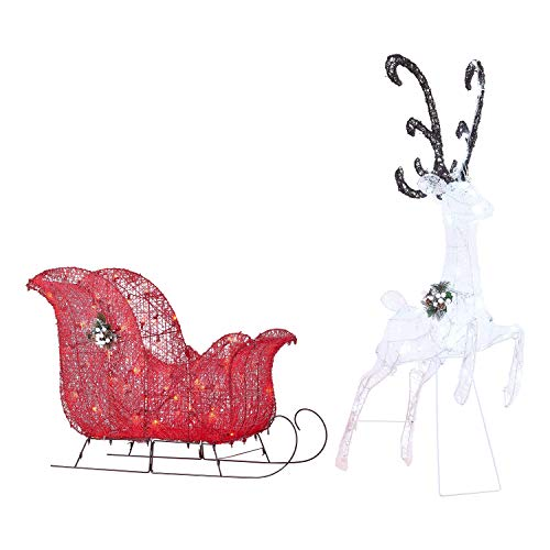 Holiday Time Light-up Twinkling LED Reindeer and Sleigh Decoration, 52
