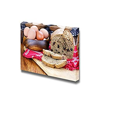 Canvas Prints Wall Art - Freshly Made and Sliced Zucchini Bread with Fresh Eggs | Modern Wall Decor/Home Art Stretched Gallery Canvas Wraps Giclee Print & Ready to Hang - 24