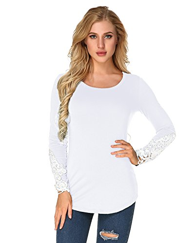 StyleDome Women's Blouse Tunic Shirts Lace Crochet Long Sleeves Cotton Tops White XL