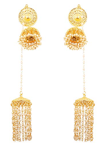Touchstone Indian Bollywood Faux Pearls Hangings Exclusive Kashmere Traditional Grand Designer Jewelry Chandelier Jhumki Earrings for Women in Gold Tone. by Touchstone (Image #4)