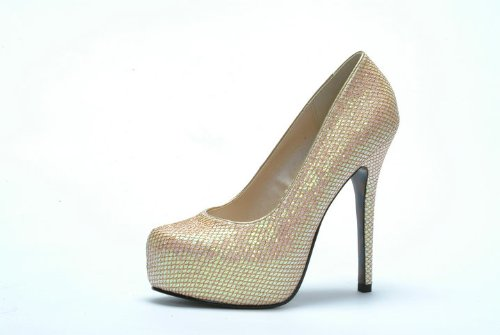 Bettie Page Mujeres Bp519 Mamie Dress Pump Gold