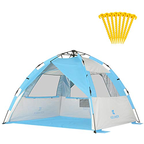 Gorich 2019 Upgraded Easy Set Up Beach Tent with SPF UV 50+ Protection, Beach Sun Shelter Canopy Cabana for Family Trip, Protable 4 Person POP UP Beach Umbrella Beach Shade for Camping Sprots Fishing (Best Fishing Umbrella 2019)