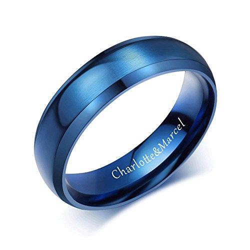 XUANPAI Free Custom Engraving 6mm Stainless Steel Brushed Matte Finished Plain Wedding Ring Band,Blue,10 ()